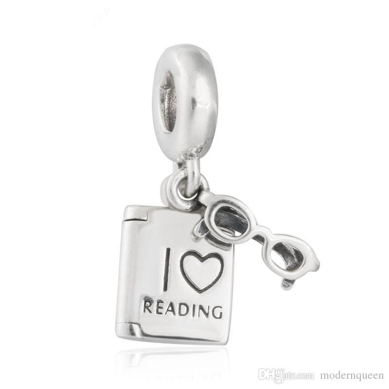 Love Reading livre charmes perles authentiques perles en argent sterling S925 correspond pandora bracelets bijoux livraison gratuite CH621
