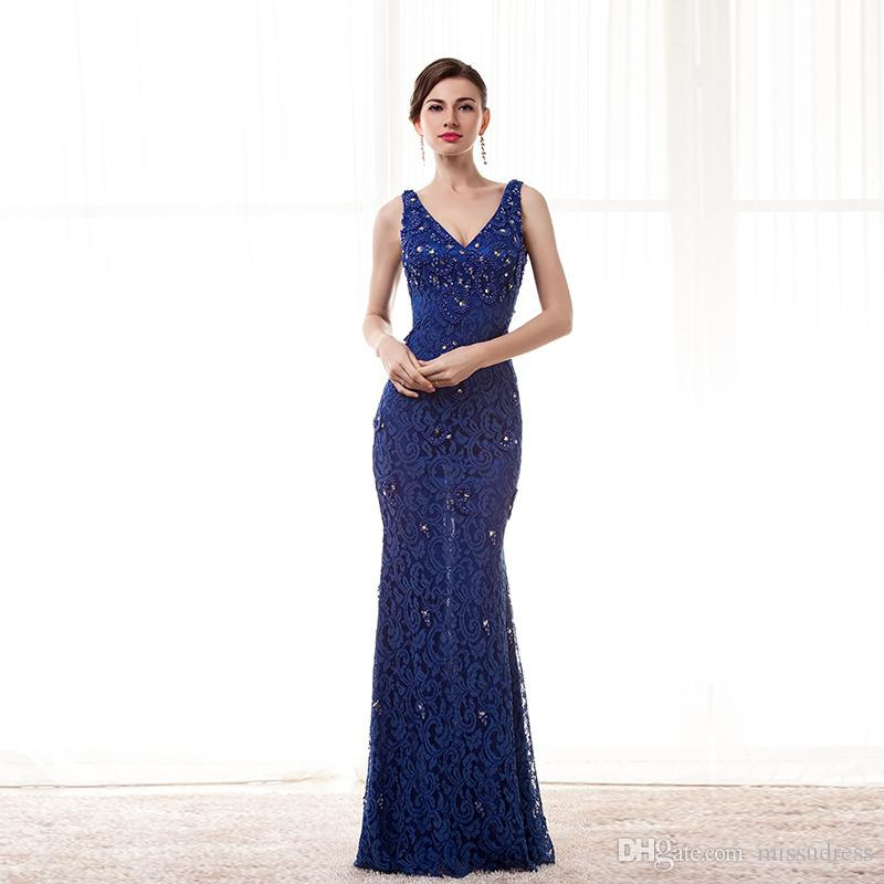 Dentelle perlée bleu robes de bal avec bretelles Sexy Backless robe de soirée longue robe de soirée faite sur commande robe