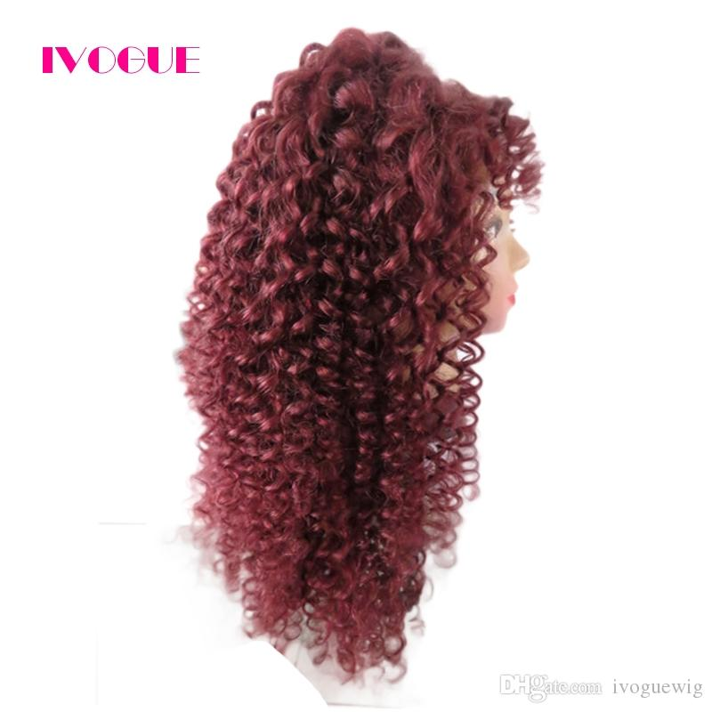 Burgundy Virgin Brazilian Kinky Curly Full Lace Wig Human Hair Glueless Lace Front Wigs Color #99j with Bleached Knots Baby Hair