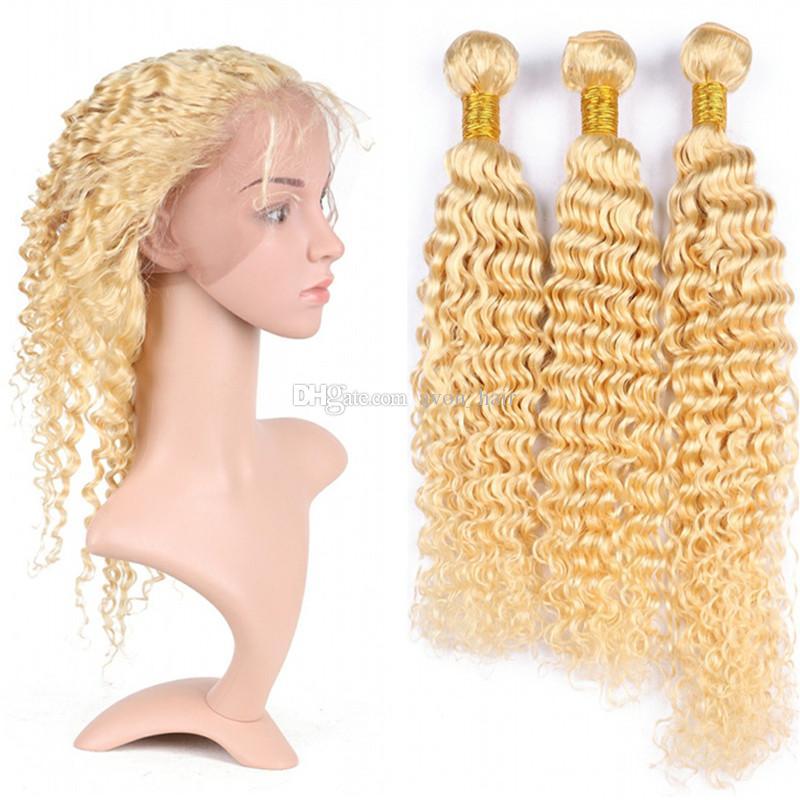 Chaud Pré Plumée 360 Frontal Avec Blonde Profonde Cheveux Bouclés 3Bundles Blonde 613 Brésilienne Vague Profonde Vierge De Cheveux Tisse Avec 360 Frontal