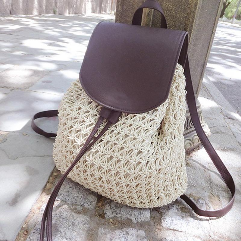 2017 2017 Summer Crochet Straw Bag Backpack Vines Beach Knitting ...