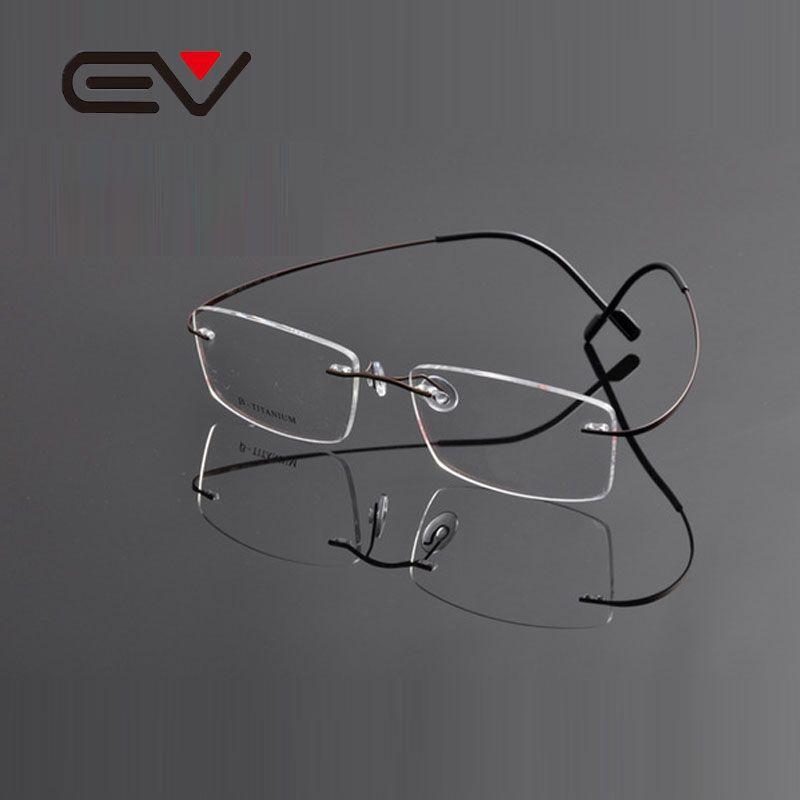 7c21b75556f8 2019 Wholesale 2015 EV High Quality Super Slim Titanium Rimless Eyeglasses  Myopia Glasses Frame For Man And Woman Memory Optical Glasses EV0963 From  ...