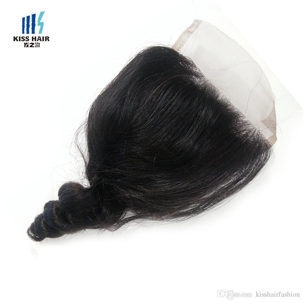 4x4 2x6 chiusura del merletto vergine brasiliano capelli umani medio tre parte chiusura corpo dritto allentato onda profonda ricci colore naturale 8-20 pollici