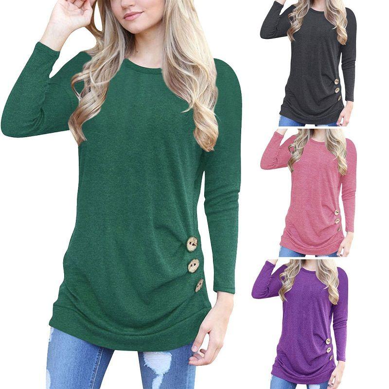 best loved f507c a007d Moda donna camicette eleganti ragazze T-shirt per donna autunno  abbigliamento manica lunga casual top girocollo in vita con bottoni  11colori ML-8689