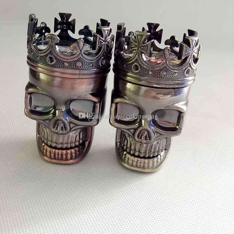 King Skull Shape plastic Tobacco Smoking Grinder Herb Smoke Grinders Tools Muller Magnetic Abrader Crusher 3 parts Gift