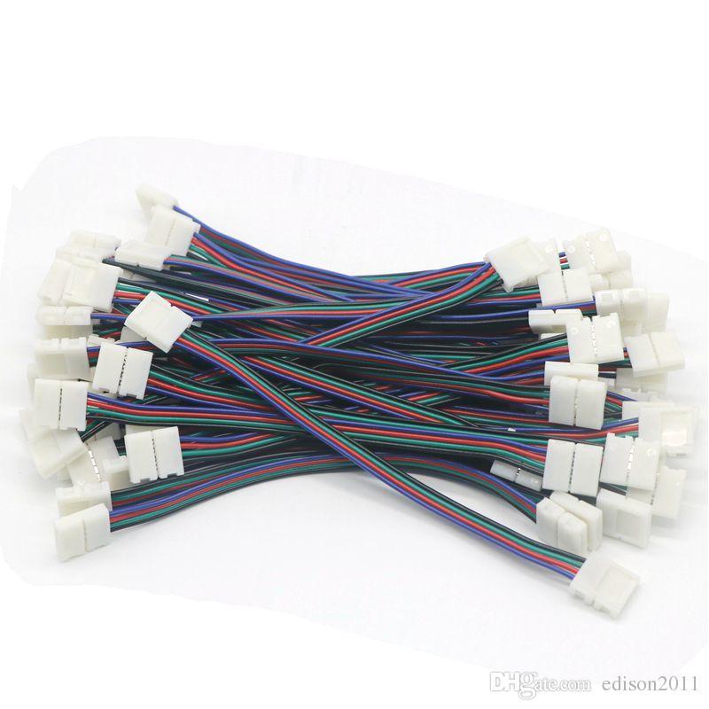 Edison2011 Neues Design 10mm 4pin LED-Streifenverbinder für 5050 RGB-LED-Streifen-Licht mit drahtfreier Versand