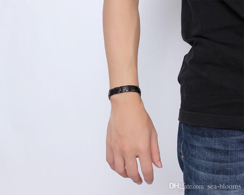 Fashion Design Health Energy Bracelet Bangle Men Black Jewelry Stainless Steel Bio Magnetic Bracelet For Man Best Mens Gift B845S