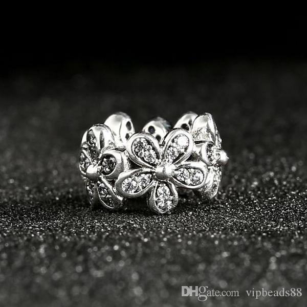 NEW Dazzling Daisies Spacer Charms Beads 925 Sterling Silver Flower Bead DIY 2017 Spring Accessories