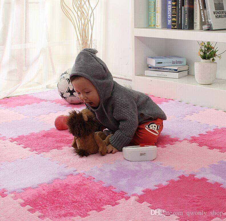 Uzun Kürk Saç Bulmaca Köpük Kat Mat, Ped Bebek Emekleme Kesme Alan Halı, Halı Oynamak için 30 * 30 cm Çocuk, Çocuk Oturma Odası, Yatak Odası