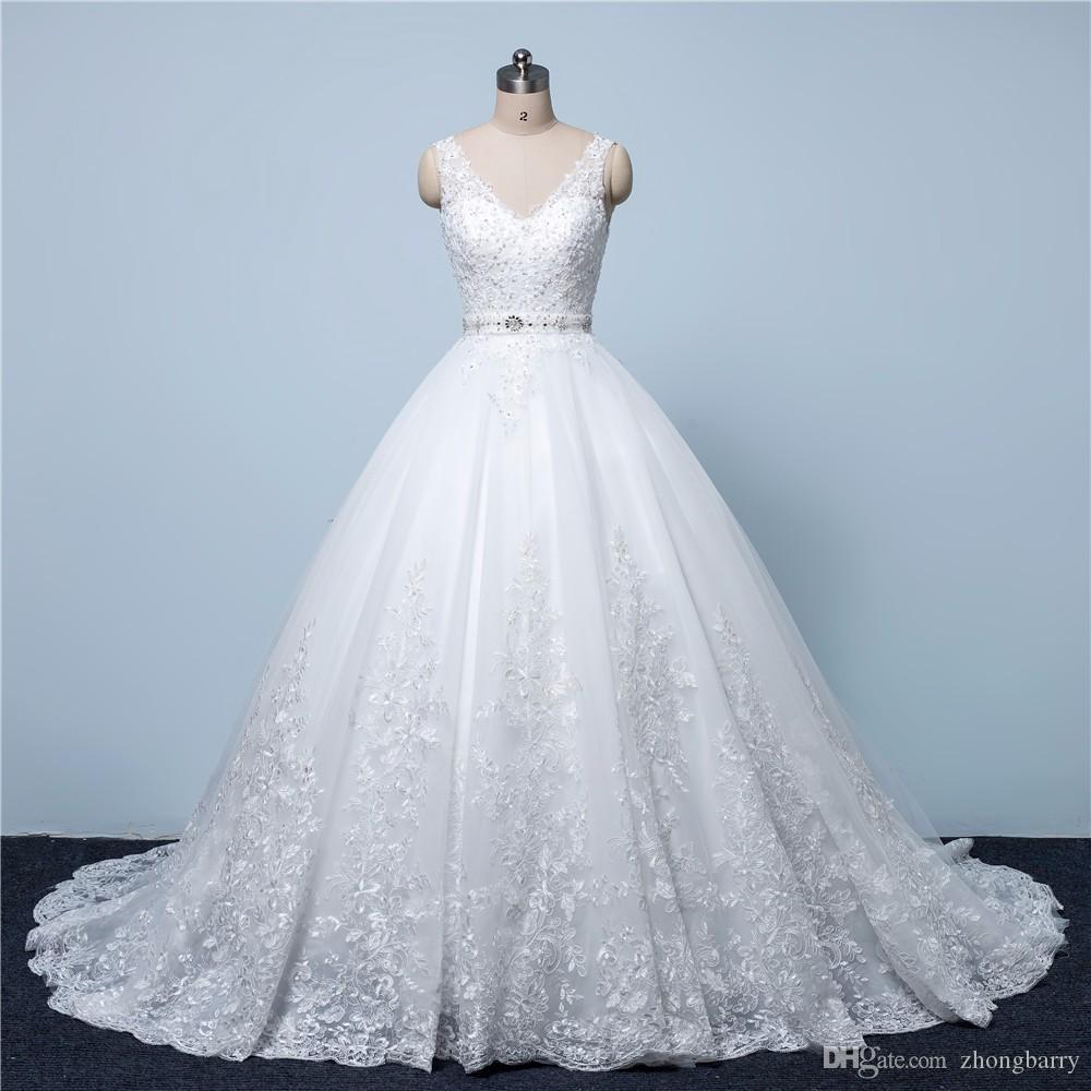 Discount Luxurious Ball Gown Princess Lace Wedding Dresses 2017 V ...