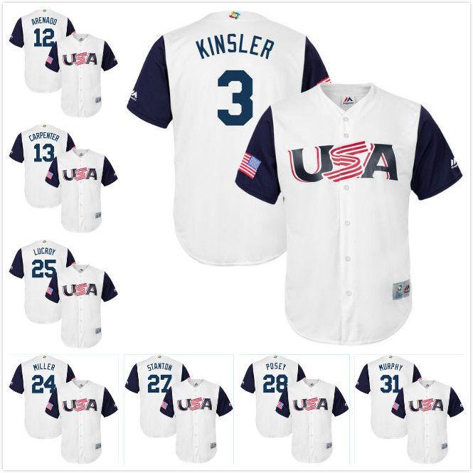 8ef17f6c3 ... Jerseys 12 Nolan Arenado 24 Andrew Miller 28 Buster Posey Jersey  Majestic Mens USA Baseball Nolan Arenado Majestic White 2017 World Baseball  Classic ...
