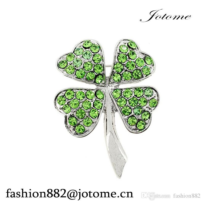 China wholesale High Quality Green Crystal Lucky 4 Leaf Clover Flower Pin Brooch for women