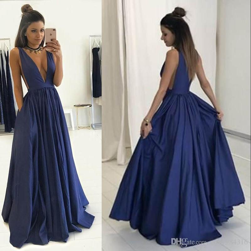 Stunning Deep Blue Prom Dresses Plunge V Neck Sleeveless Sexy ...