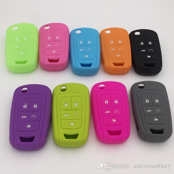 colorful car key protector for chevrolet 5 button remote key blank silicon key cover