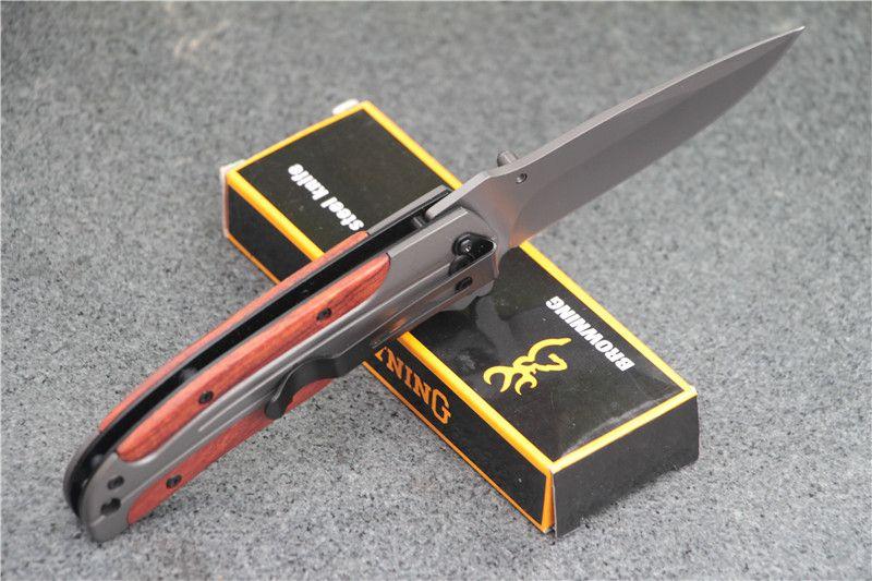 Spedizione gratuita Browning DA43 pieghevole coltello 3 cr13 lama manico in palissandro lavorazione Tattico strumento di campeggio coltello da tasca aprire rapidamente il sur