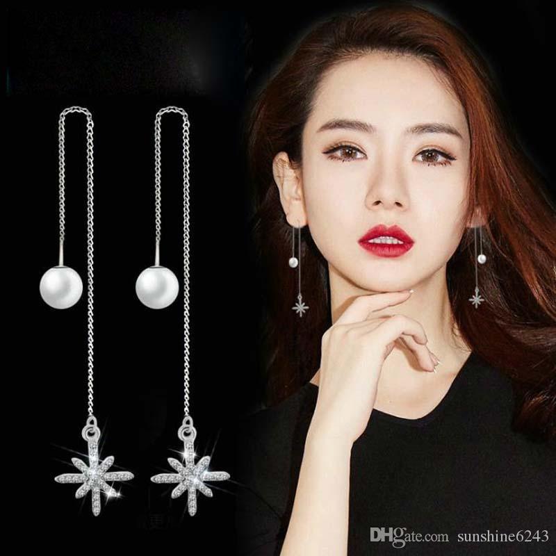 Meistverkaufte koreanische Mode einfache Temperament wilde Sterne Diamant Ohrringe 925 Sterling Silber lange Ohrringe weibliche Accessoires