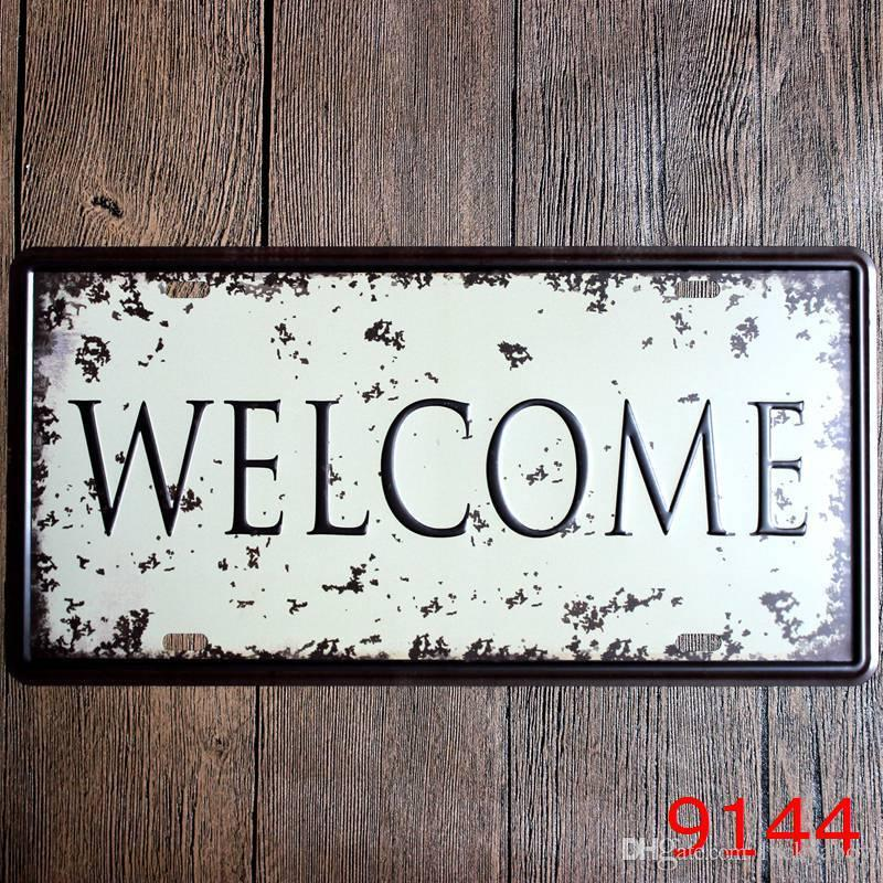 Smile beer welcome home family happy coffee Car Metal License Plate Vintage Decor Tin Sign Bar Pub Cafe Garage Decorative Metal Sign