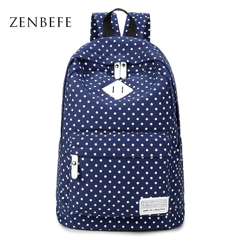 c727a1af79 Wholesale ZENBEFE Dot Women S Backpack Canvas Bag Leisure School Bag For  Teenage Girls Laptop Backpack Travel Bags Printing Backpacks Running  Backpack ...