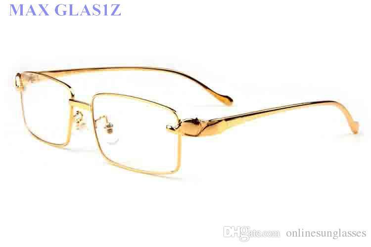 2017 дизайнер солнцезащитные очки для женщин мужской бренд полный rimless черный прозрачный объектив с леопардом золотые металлические ноги рог буйвола очки с коробкой