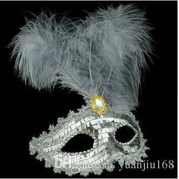 Color Feather Party Máscara Lentejuela Decoración Princesa Masquerade Dancing Mask Eco Friendly Halloween Cosplay Decoración /