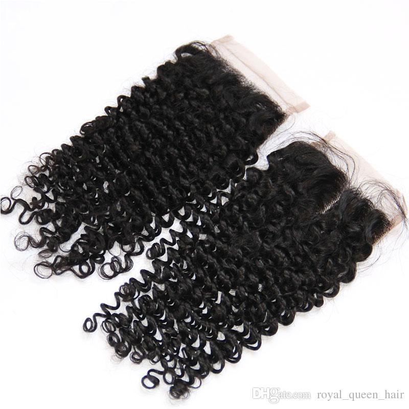 8A chiusura del merletto dei capelli umani vergini brasiliano peruviano malese indiano corpo dritto onda sciolto acque profonde onda naturale ricci crespi chiusure ricci