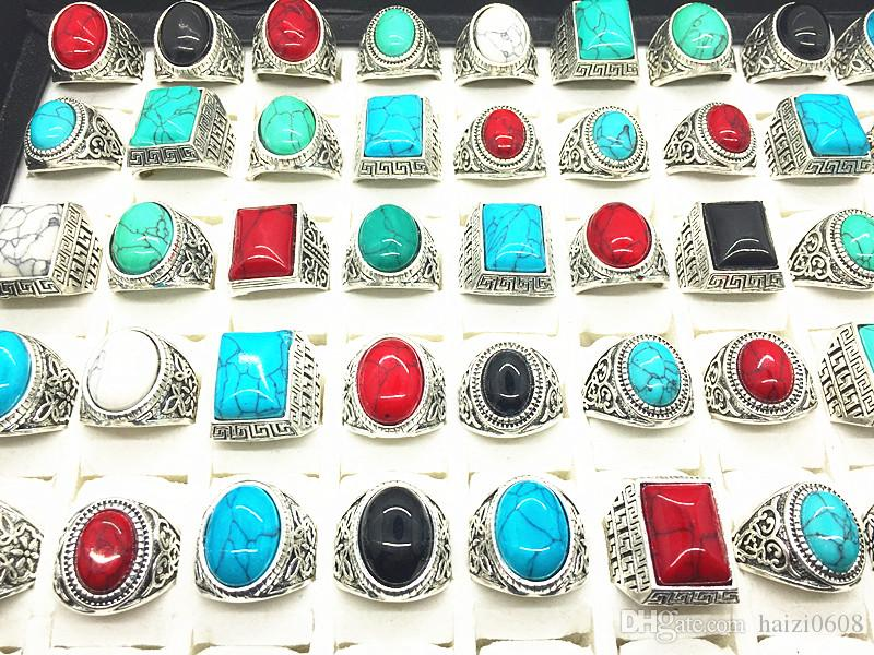 Turquoise Gemstone Ring Mix Style Antique Silver Vintage