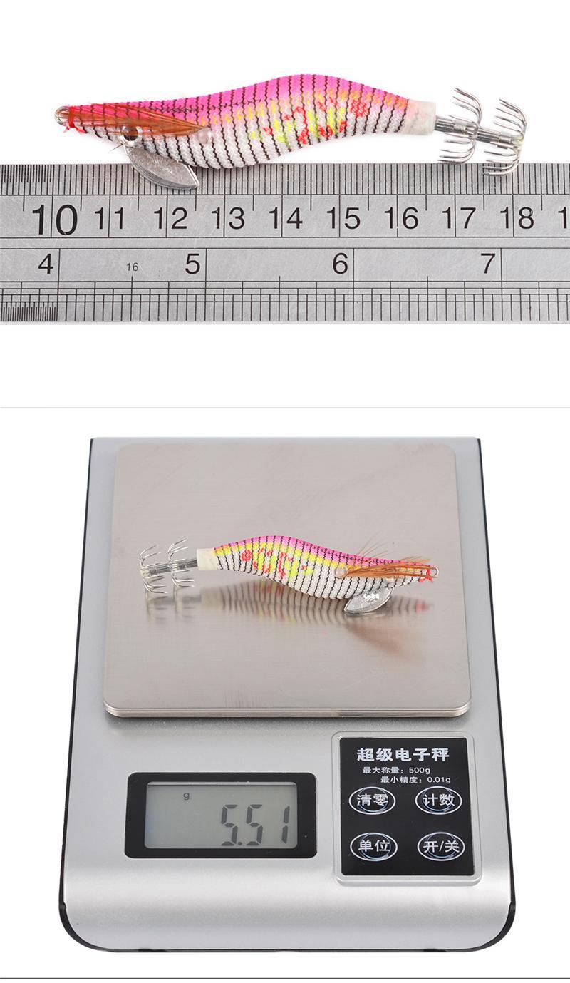 Luminous wooden shrimp squid lure 2# fishing hooks 8cm 5.5g Squid Jigs Cuttlefish crankbait Artificial Shrimp Bait