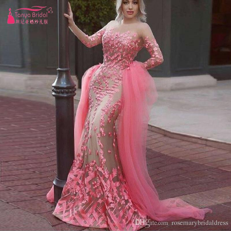 Blush Long Sleeve Mermaid Prom Dresses Elegant Luxury Flower ...