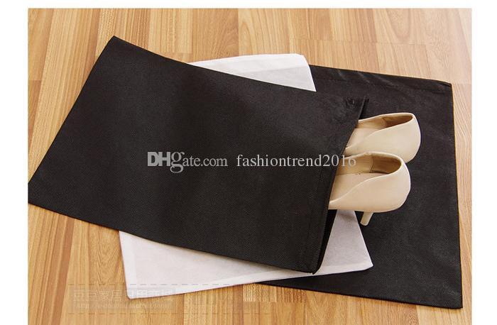 Tragbare Reise Aufbewahrungstasche für Schuhe Nichtgewebte Kordelzug Schuhe Taschen Kleidung Unterwäsche Beutel Organizer Weiß Schwarz