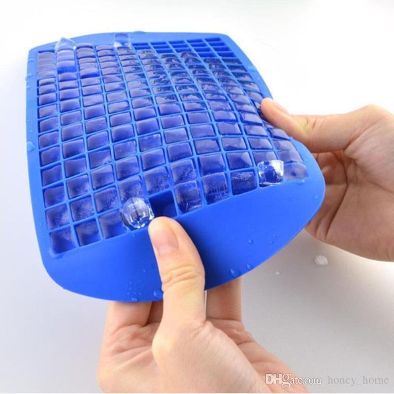 160 Grade DIY Criativo Pequeno Cubo De Gelo Molde Quadrado Fabricante De Silicone Bandeja De Gelo Barra De Frutas De Gelo Mould 3 cores 23.8x12x1 cm