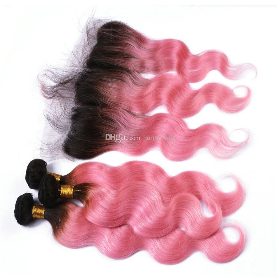두 톤 1B 핑크 옹 브르 바디 웨이브 인간의 머리는 번들로 레이스 정면 폐쇄 브라질 인간 버진 헤어 핑크 레이스 정면으로 엮어