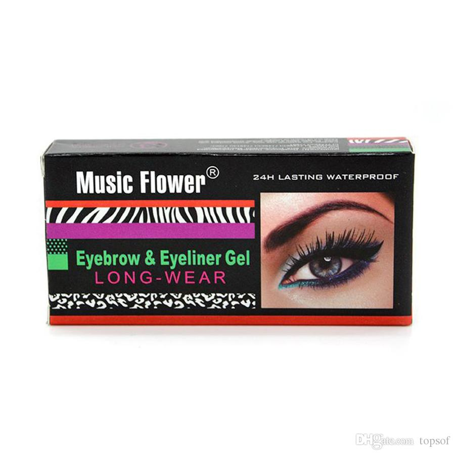 Music Flower Matte Eye Liner Gel Waterproof Eyeliner Cream Makeup Long Wear Brush Long-lasting Make Up Eyeliner Gel Waterproof