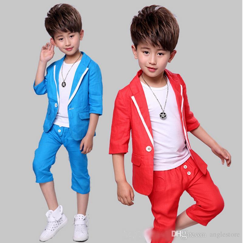 5b07c8b79d2f 2019 Boy Short Sleeve Suit 2017 Summer New Children S Dress Cotton ...