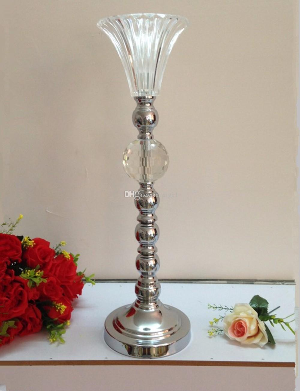 53 см высота серебряный творческий металл подсвечник свадьба центральным событие дорога привести партии цветок стойки 1 лот = 10 шт.