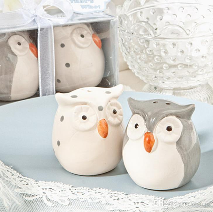 = / Hochzeits-Bevorzugungen und Geschenke Baby-Dusche-graue und weiße Farbe-Eulen-keramischer Salz-und Pfeffer-Rüttler geben Verschiffen frei