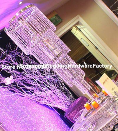 Toptan zarif yeni tasarım moda Kristal uzun boylu çiçek standı / çiçek vazo / düğün masa dekorasyon için roman akrilik ayağı