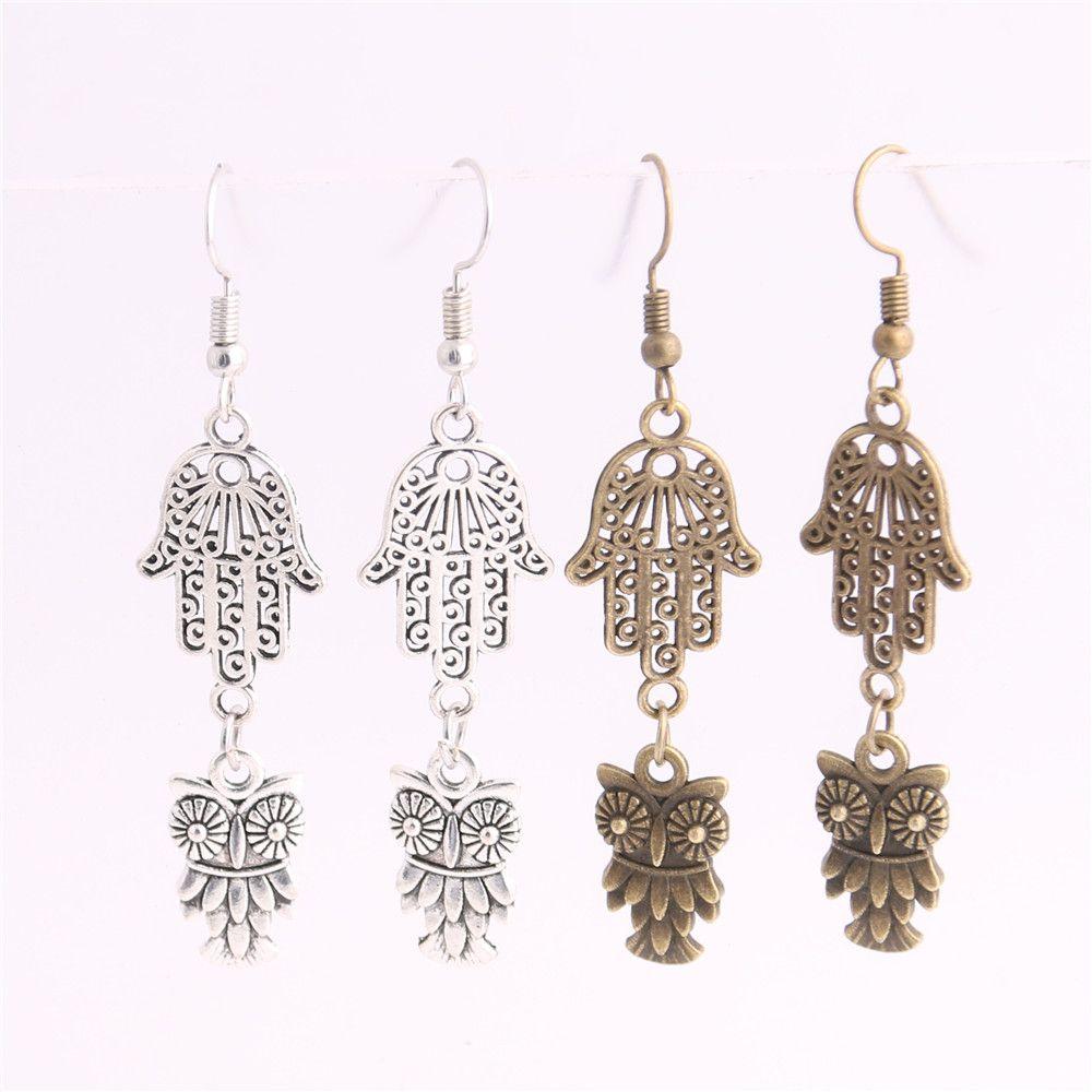 Metal Alloy Zinc Hamsa Hand Connector Animal Owl Pendant Charm Drop Earing Diy Jewelry Making C0719