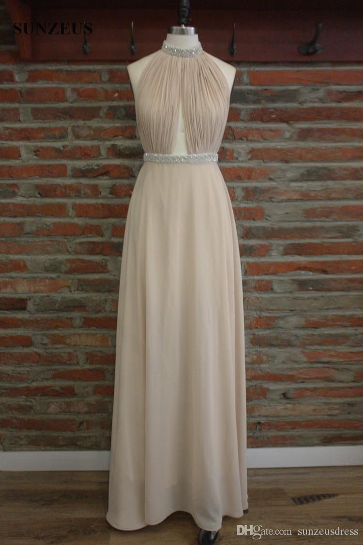 Beaded High Neck Long White Prom Dresses Sexy Back Chiffon Party Gowns Real Photos