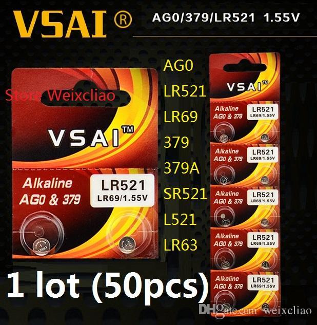 50 stücke 1 los AG0 LR521 LR69 379 379A SR521 L521 LR63 1,55 V Alkalische Knopfzelle münzen batterien Karte VSAI Kostenloser versand