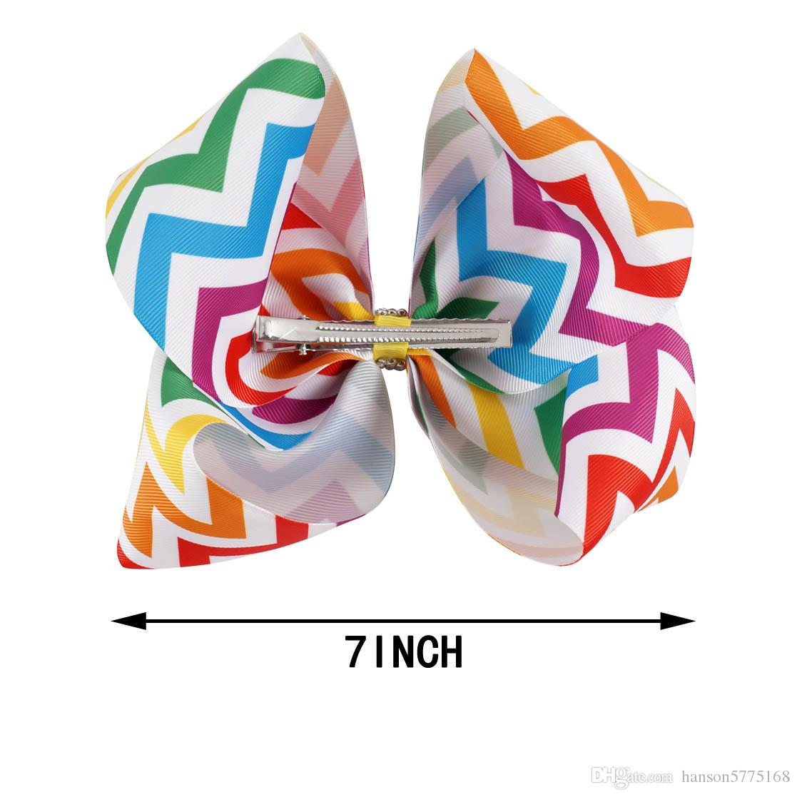 7 inch Colorful Chevron Grosgrain Ribbon Hair Bows With Prong For Girl Kid Hair Clips