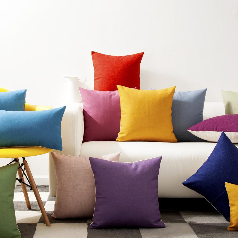 Solid Color Rainbow Yellow Green Blue Purple Pillow Cushion Cover Home  Decorative Pillows Thick Linen Pillow Case Sofa Cushions Baby Safety Pillow  Baby Safe ...