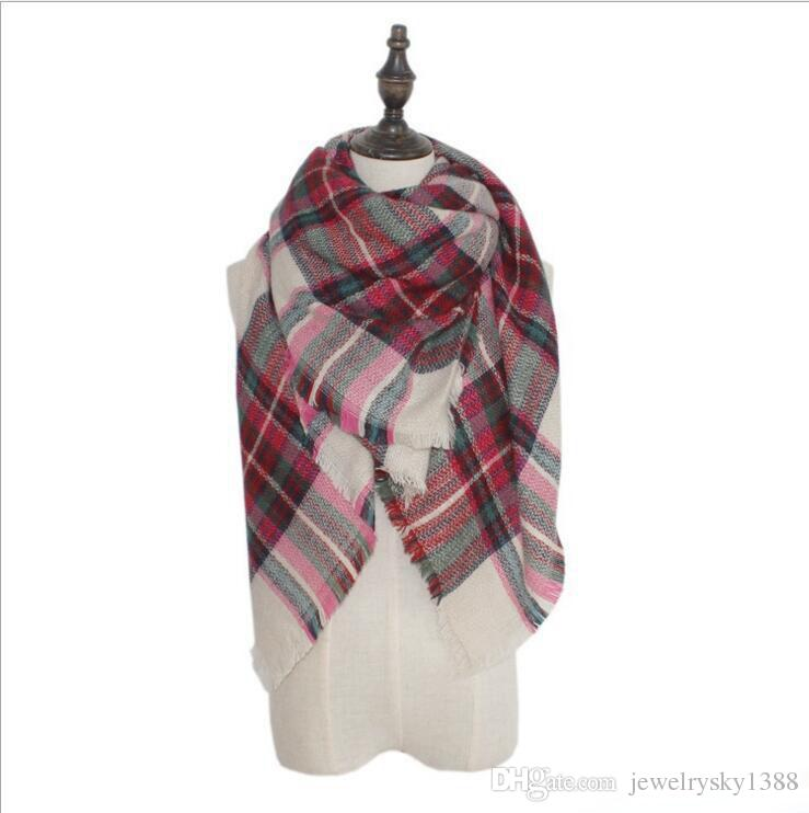 Plaid Scarves 140*140 cm Pashmina Grid Striped Shawl Tartan Tassel Scarf Cozy Fashion Wraps Oversized Cashmere Lattice Neckchief