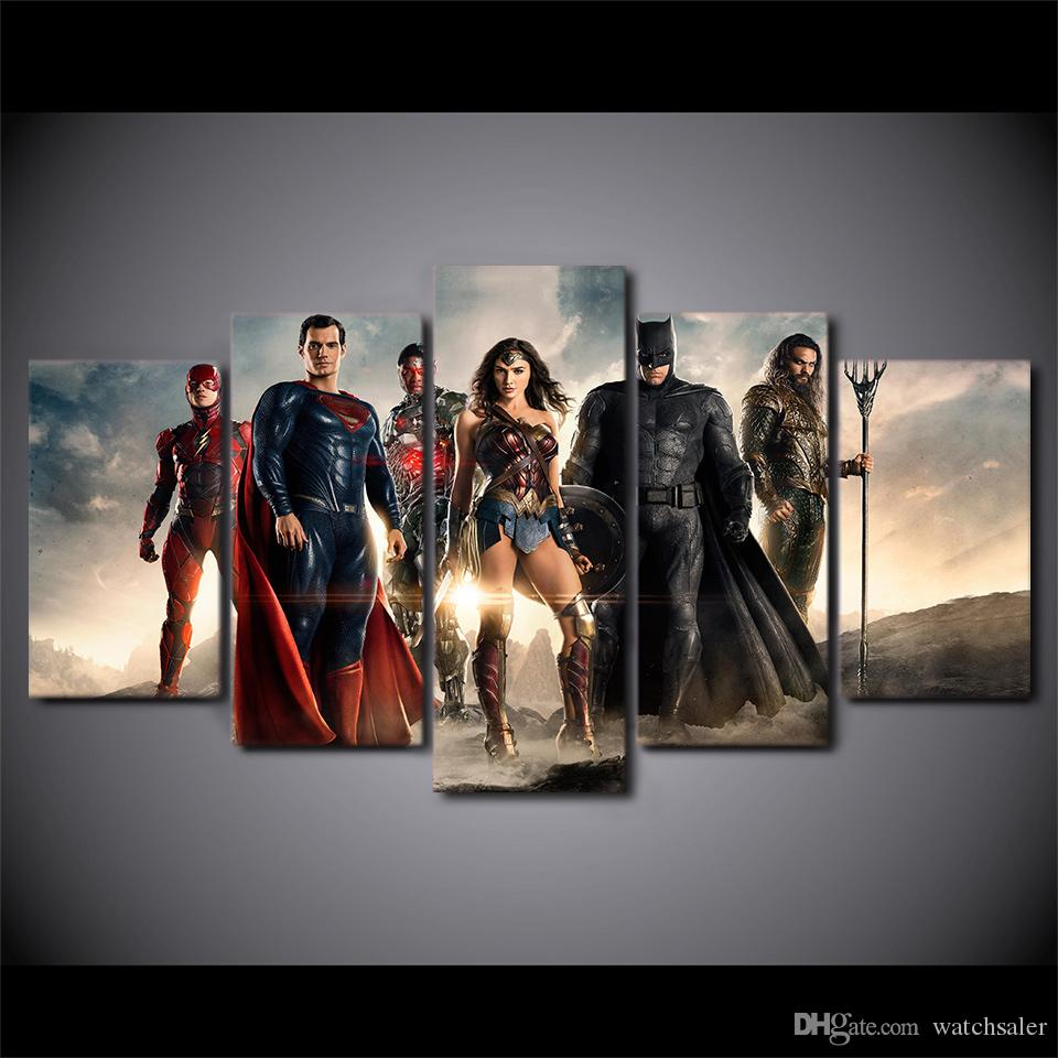 HD Impreso 5 Unidades Arte de la Lona Justice League of America Pintura Superman Wall Pictures for Living Room Envío Gratis