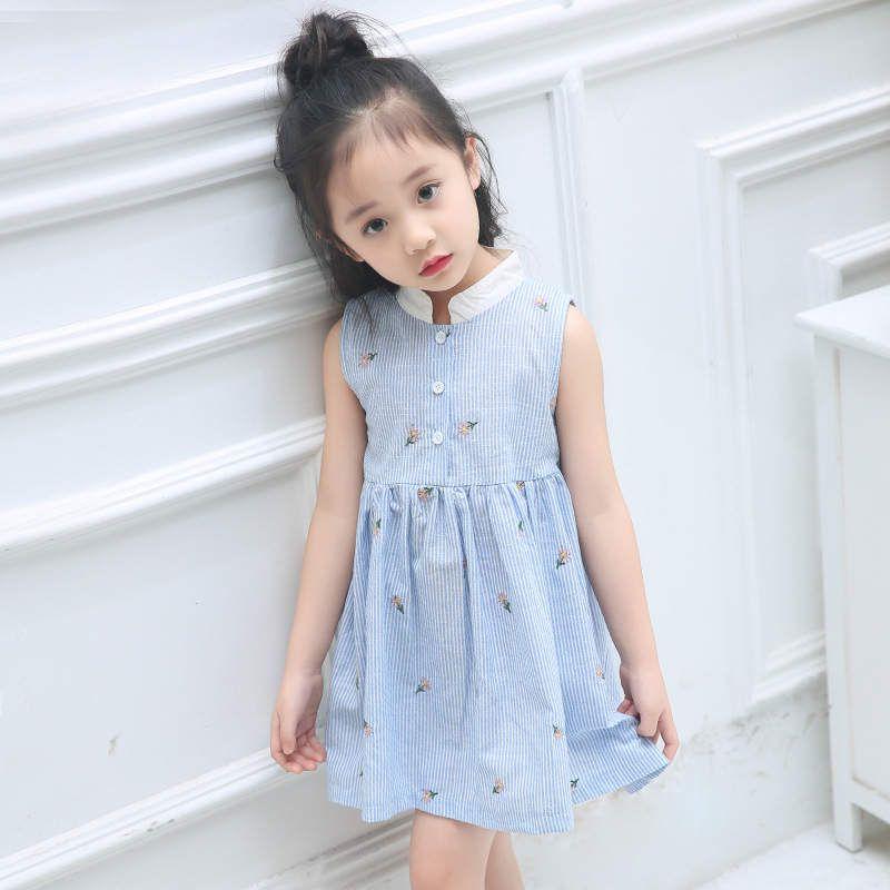Großhandel Mädchen Kleid Nettes Baby Sommer Blaues Gestreiftes ...