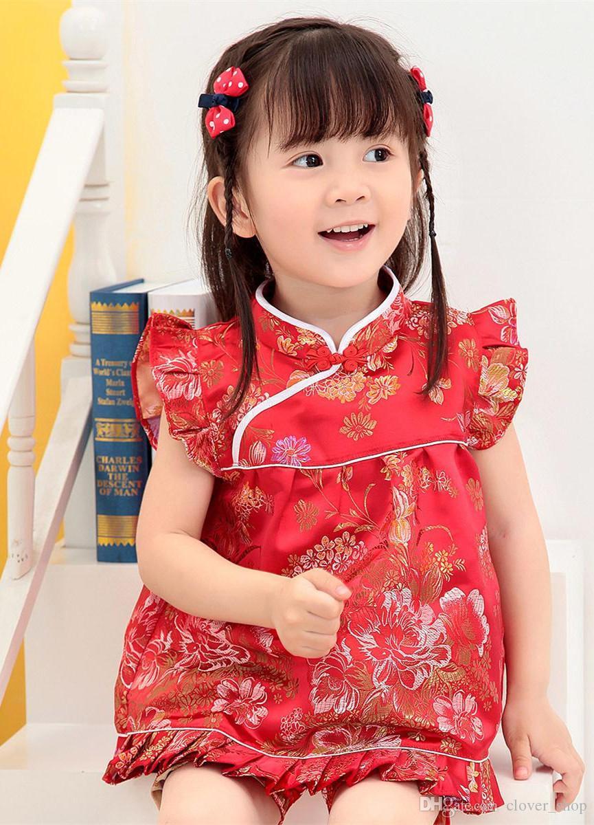 꽃 어린이 세트 아기 소녀 의류 복장 새해 중국어 길어야 드레스 짧은 바지 Qipao cheongsam 무료 배송