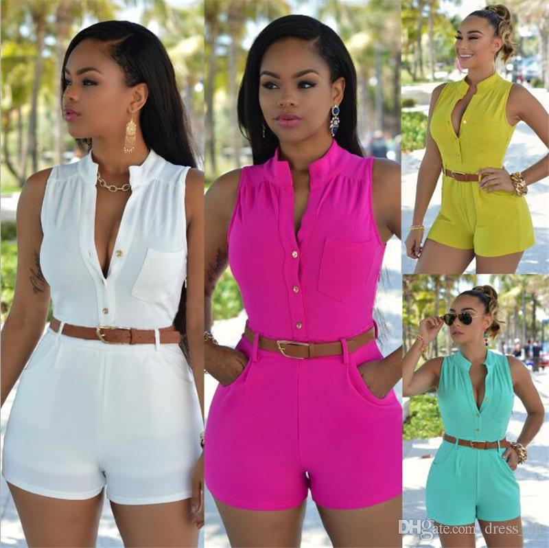 e07c9f94f7 2019 Ladies Summer Sleeveless Buckle Up Romper Women Button Fly Playsuit  Pocket Jumpsuit Trouser Siamese Shorts With Belt From Dress ch