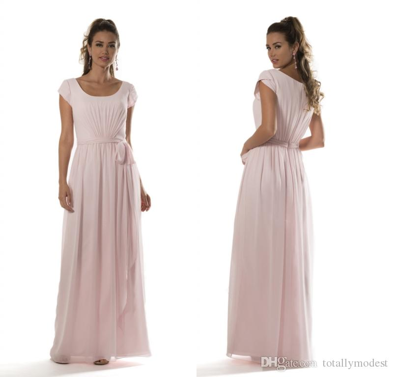 aa231e7e6a Light Pink Beach Long Modest Bridesmaid Dresses 2017 With Petal Sleeves A  Line Sashes Country Chiffon Wedding Party Dresses New Custom Made  Bridesmaid ...