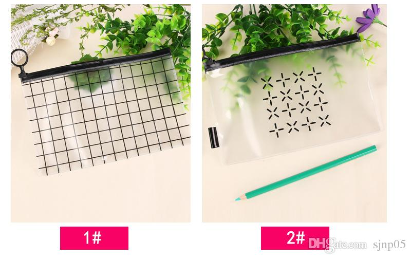 Fashion Transparent Waterproof PVC Packing Bags Zipper Plastic Grid Travel Home Makeup Cosmetic Toiletry Storage Bags Case Organizer Zip