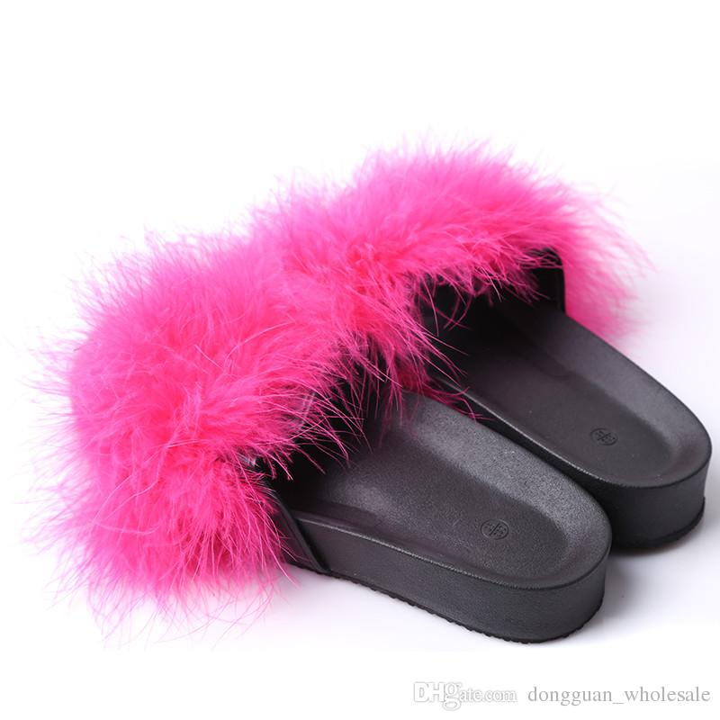 Fur Furry Slide Sweet Ostrich Feather Thick Bottom Beach Female Sandals Hair Flip Flops Women Home Slippers Indoor Soft