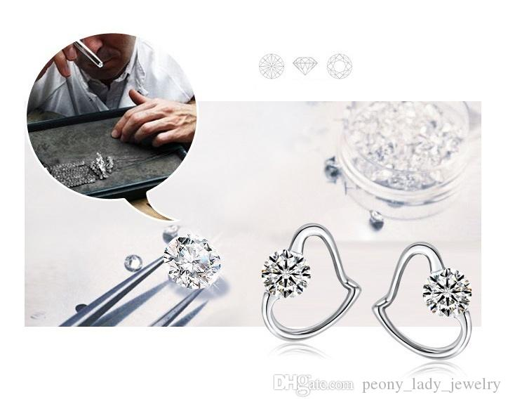 Kwaliteit Swiss Crystal Oud Oorbellen Bruiloft Charms Vintage Hartvormige Oorbel met 925 Stempel gratis verzending